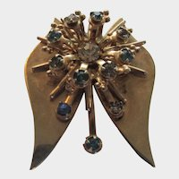 Goldtone Modernist Butterfly Pin or Pendant With Crystal Enhancements