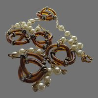 Glass Link Necklace With Faux Pearls