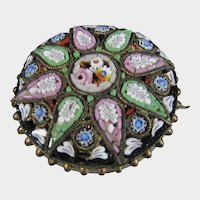 Micro Mosaic Pin Circa 1900 In Floral Pattern With C Clap Closure