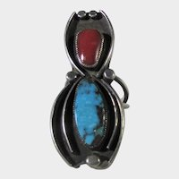 Native American Sterling Silver Ring With  Turquoise and Red Coral In Shadowbox