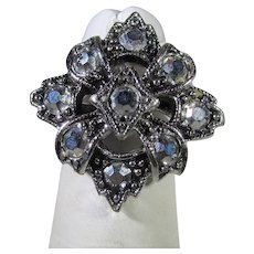 Vintage Signed Emmons Silver Tone Ring With Marcasite Accents