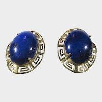 14 Karat Yellow Lapis Lazuli Greek Key Earrings for Pierced Ears