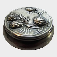 Sterling Silver Hinged Pill Box with Pine Cone Top Decoration