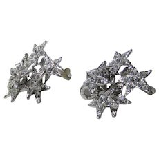 Vintage Moving Star Clip On Earrings With Lots of Clear Crystals