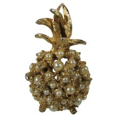 Vintage Alice Caviness Goldtone Pineapple Decorated With Faux Pearls