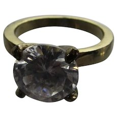 Vintage Costume Ring In Goldtone With Clear CZ Center Stone