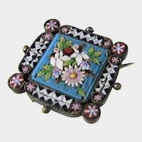 Antique Micro Mosaic Pin Circa 1900 Tiny Work Of Art