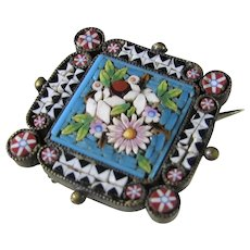 Antique Micro Mosaic Pin Circa 1900 Tiny Work Of Art