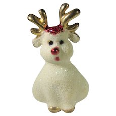 Vintage Rudolph Pin With iridescent White Body and Goldtone Antlers and Shoes