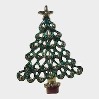 Vintage Green Enamelled Christmas Tree Pin with Red Enamelled Stand