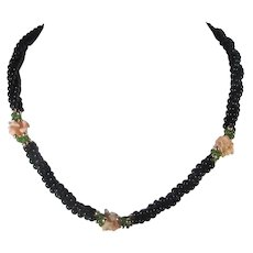 Onyx Triple Strand Necklace With Coral Floral Decorations and Nephrite Jade Accents