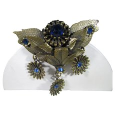 Vintage Bronze Tone Pin With Cornflower Blue Crystal Accents