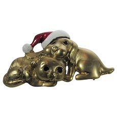Danecraft Sleeping Dog and Cat Christmas Pin in Red and White Enamel Hat