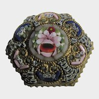 Micro Mosaic Pin Circa 1900 Six Sided In Floral Pattern With C Clap Closure
