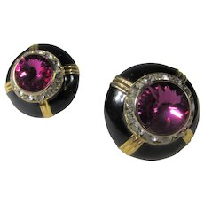 Vintage Clip On Earrings with Big Fuchsia Center Crystals on Black Enamel