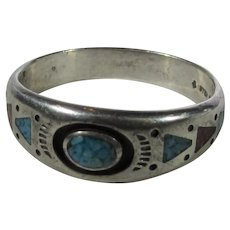 Sterling Silver Men's Ring Inlaid Turquoise and Coral