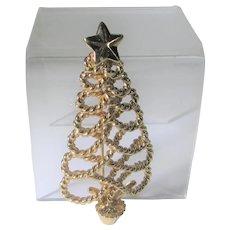 Vintage Goldtone Napier Classic Christmas Tree Pin