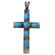 Sterling Silver Cross Pendant With Turquoise Cabochon Stone Accents