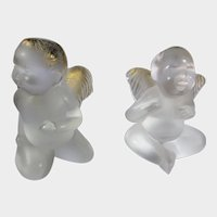 Lalique Pair of Cherubs with Gold Brushed Heads and Wings