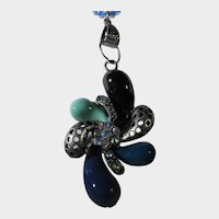 Statement Focal on Necklace with Faux Pearls and Tiny Turquoise Seed Beads
