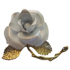 Signed White Enamelled Rose Pin With Goldtone Leaves