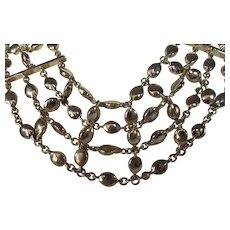 Designer Signed Four Strand Goldtone Statement Necklace
