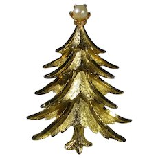 Vintage Mamselle Goldtone Christmas Tree with Faux Pearl Top