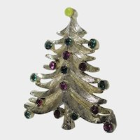 Christmas Tree Pin in Silver Tone with Red and Green Colored Crystal Ornaments