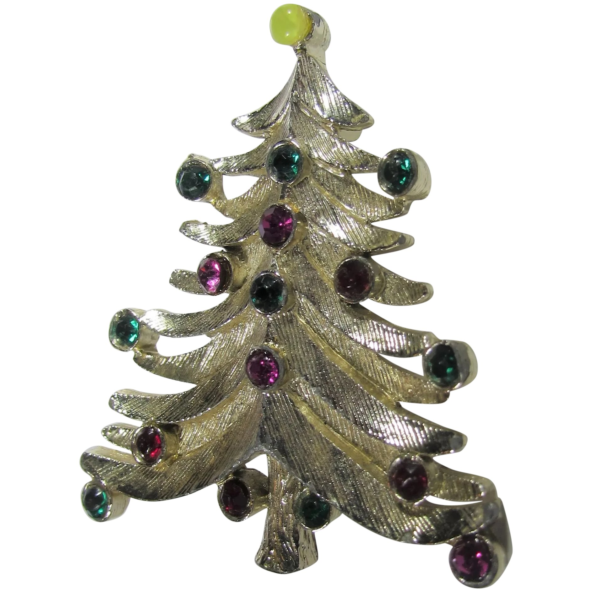 Christmas Tree Pin In Silver Tone With Red And Green Colored Crystal Style And Grace Ruby Lane