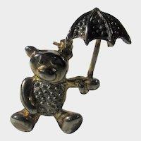 Vintage Goldtone Teddy Bear with Blackened Umbrella