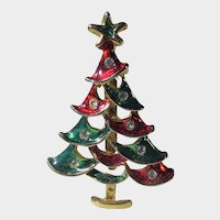 Christmas Tree Pin in Red and Green Enamel with Clear  Crystal Ornaments