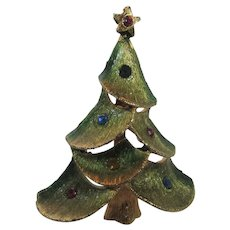 Signed JJ Christmas Tree in Green with Goldtone Finish and Multi Color Crystals