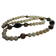 Agate Necklace With Tiger's Eye and Onyx Accents