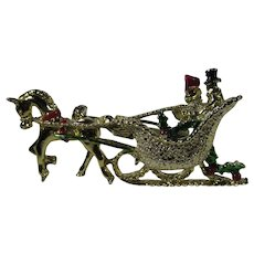Christmas Sleigh Horse Drawn Pin Decorated for Holiday Travel