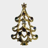 Christmas Tree Pin by Monet in Brushed Goldtone Finish Many Different Crystals