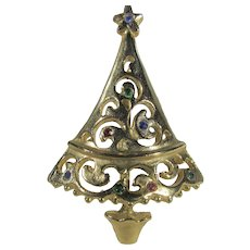 Vintage Goldtone Christmas tree Pin with Tiny Colored Crystals