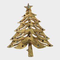 Christmas Tree Pin in Brushed Goldtone With a Variety of Tiny Crystal Ornaments