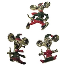 Trio of Christmas Mice Pins in Red, Green and Goldtone