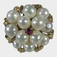 14 Karat Yellow Gold Cultured Pearl ring With Ruby Center Accent