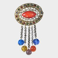 Vintage FIlagree Pin With Glass Bead Drops in Goldtone