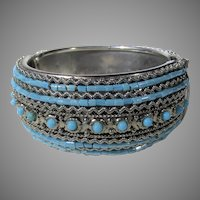 Silver Tone Cuff Bracelet With Faux Turquoise and Hinged Opening