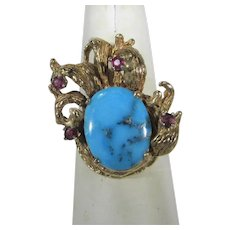 14 Karat Yellow Gold Turquoise Ring With Ruby Accents in Organic Style