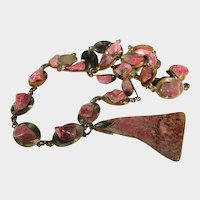 Rhodochrosite Necklace With Goldtone Links