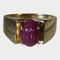 14 Karat Yellow Gold With Carved Cabochon Ruby Ring