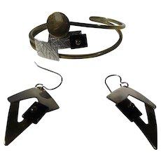 Sterling Silver Bracelet and Pierced Earring Modernist Set in Multi Metal Look