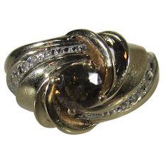 10 Karat Yellow Gold Ring With  Champagne and White DIamonds