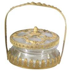 Gilded Age Lidded Dresser Jar Covered in Goldtone Gilt Metal