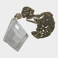 """Crystal Pendant on a Bejewelled Bezel Hung on a 30"""" Vermeil Chain"""