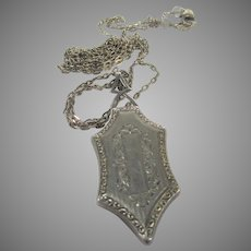 Sterling Silver Deco Locket on a Sterling Silver Chain