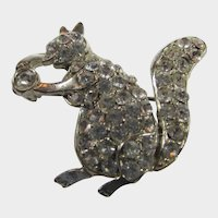 Vintage Crystal Squirrel pin in Silver Tone With Crystal Nut